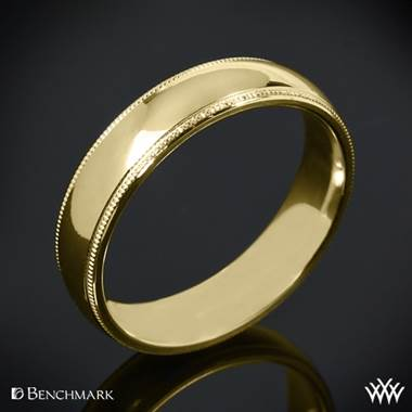 "14k Yellow Gold Benchmark ""Comfort Fit"" Wedding Ring with Milgrain"