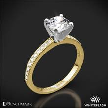 14k Yellow Gold Benchmark LCP1 Small Pave Diamond Engagement Ring | Whiteflash