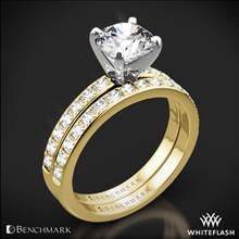 14k Yellow Gold Benchmark LCP2 Large Pave Diamond Wedding Set | Whiteflash