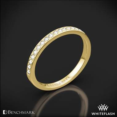 14k Yellow Gold Benchmark Small Pave Diamond Wedding Ring
