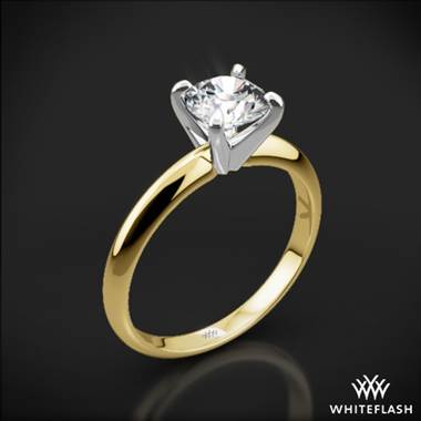 14k Yellow Gold Classic 4 Prong Solitaire Engagement Ring with White Gold Head