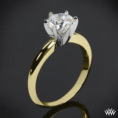 14k Yellow Gold Classic 6 Prong Solitaire Engagement Ring with White Gold Head