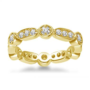 14K Yellow Gold Eternity Ring Having Round Diamonds In Prong Setting (0.57 - 0.67 cttw.)