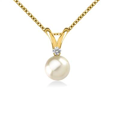 14K Yellow Gold Freshwater Cultured Pearl Pendant With Diamonds