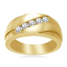 14K Yellow Gold Men's Diamond Band (1/2 cttw.) | B2C Jewels
