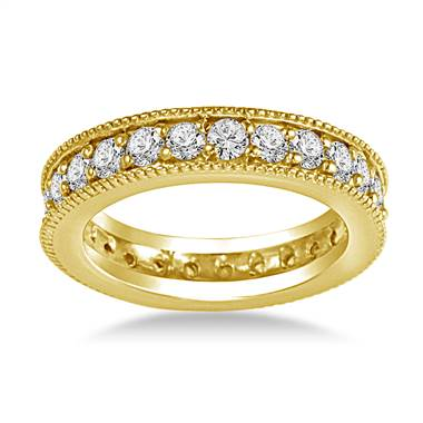 14K Yellow Gold Milgrain Edged Diamond Eternity Ring (0.78 - 0.90 cttw.)