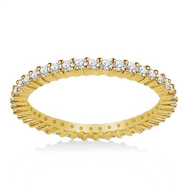 14K Yellow Gold Prong-Set Diamond Eternity Ring For Ladies Diamond Band (0.53 - 0.62 cttw)