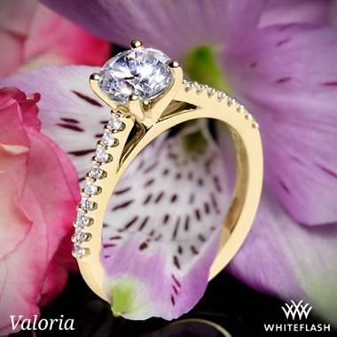 14k Yellow Gold Valoria Cathedral Diamond Engagement Ring