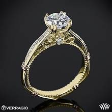 14k Yellow Gold Verragio Parisian D-101S Diamond Engagement Ring with Rose Gold Wraps | Whiteflash