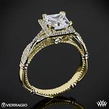 14k Yellow Gold Verragio Parisian D-106P Halo Diamond Engagement Ring for Princess | Whiteflash