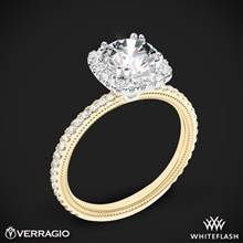 14k Yellow Gold with White Gold Head Verragio Tradition TR120HCU Diamond Cushion Halo Engagement Ring | Whiteflash