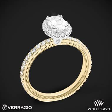 14k Yellow Gold with White Gold Head Verragio Tradition TR150HOV Diamond Oval Halo Engagement Ring