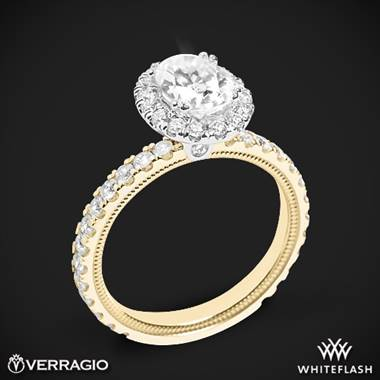 14k Yellow Gold with White Gold Head Verragio Tradition TR180HOV Diamond Oval Halo Engagement Ring