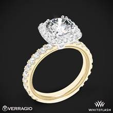 14k Yellow Gold with White Gold Head Verragio Tradition TR210HCU Diamond Cushion Halo Engagement Ring | Whiteflash