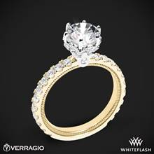 14k Yellow Gold with White Gold Head Verragio Tradition TR210TR Diamond 6 Prong Tiara Engagement Ring | Whiteflash