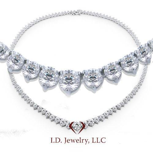 15ct Tennis Diamond Necklace in 18K White Gold