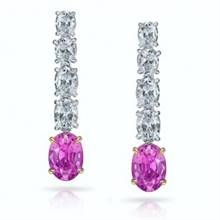 1.73ct AAA Pink Oval Sapphires Earrings with 2.98ct Diamonds set in Platinum and 18K Gold | I.D.Jewelry