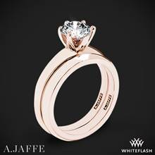 18k Rose Gold A. Jaffe ME1560 Classics Solitaire Wedding Set | Whiteflash