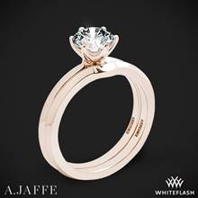 18k Rose Gold A. Jaffe ME1689 Classics Solitaire Wedding Set | Whiteflash