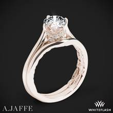18k Rose Gold A. Jaffe ME1846Q Art Deco Solitaire Wedding Set | Whiteflash