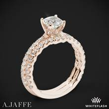 18k Rose Gold A. Jaffe ME1851Q Art Deco Diamond Wedding Set | Whiteflash