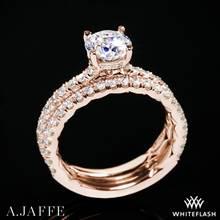 18k Rose Gold A. Jaffe ME1865Q Classics Diamond Wedding Set | Whiteflash