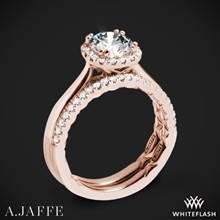 18k Rose Gold A. Jaffe ME2053Q Halo Diamond Wedding Set | Whiteflash