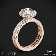 18k Rose Gold A. Jaffe ME2167Q Classics Halo Diamond Wedding Set | Whiteflash