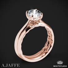 18k Rose Gold A. Jaffe ME2211Q Solitaire Wedding Set | Whiteflash