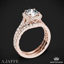 18k Rose Gold A. Jaffe ME2256Q Halo Diamond Wedding Set | Whiteflash