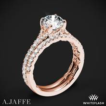 18k Rose Gold A. Jaffe ME3001QB Diamond Wedding Set | Whiteflash