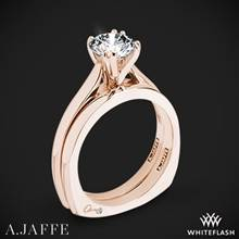 18k Rose Gold A. Jaffe MES166 Classics Solitaire Wedding Set | Whiteflash