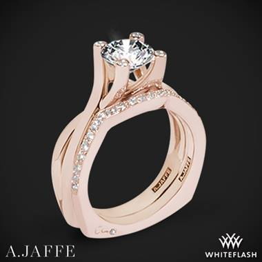 18k Rose Gold A. Jaffe MES463 Seasons of Love Solitaire Wedding Set