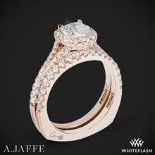 18k Rose Gold A. Jaffe MES576 Metropolitan Halo Diamond Wedding Set | Whiteflash