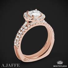 18k Rose Gold A. Jaffe MES577 Metropolitan Halo Diamond Wedding Set | Whiteflash