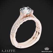 18k Rose Gold A. Jaffe MES738Q Art Deco Diamond Wedding Set | Whiteflash