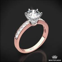18k Rose Gold Bead-Set Diamond Engagement Ring with White Gold Head | Whiteflash