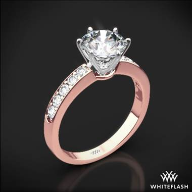 18k Rose Gold Bead-Set Diamond Engagement Ring with White Gold Head
