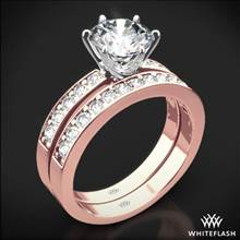 18k Rose Gold Bead-Set Diamond Wedding Set with White Gold Head | Whiteflash
