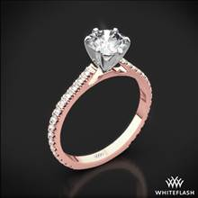 18k Rose Gold Cathedral French-Set Diamond Engagement Ring with White Gold Head   Whiteflash