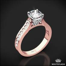 18k Rose Gold Cathedral Pave Diamond Engagement Ring with White Gold Head | Whiteflash