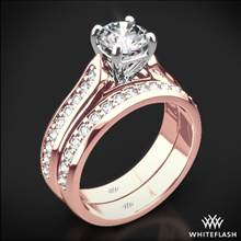 18k Rose Gold Cathedral Pave Diamond Wedding Set | Whiteflash