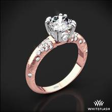 18k Rose Gold Champagne Petite Pave Diamond Engagement Ring with White Gold Head | Whiteflash