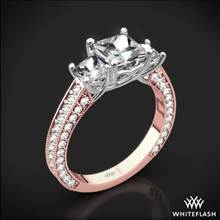 18k Rose Gold Coeur de Clara Ashley 3 Stone Diamond Engagement Ring for Princess with White Gold Head | Whiteflash