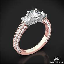 18k Rose Gold Coeur de Clara Ashley 3 Stone Diamond Engagement Ring with White Gold Head | Whiteflash