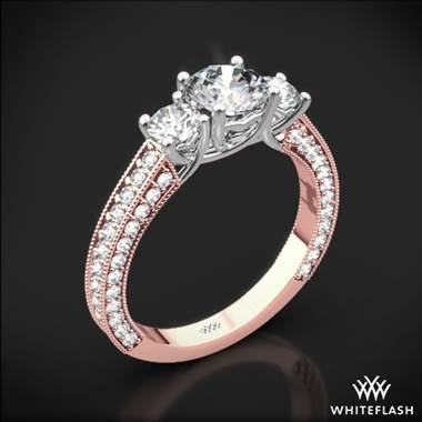 18k Rose Gold Coeur de Clara Ashley 3 Stone Diamond Engagement Ring with White Gold Head