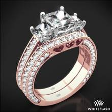 18k Rose Gold Coeur de Clara Ashley Three Stone Wedding Set for Princess | Whiteflash
