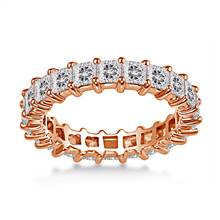 18K Rose Gold Common Prong Princess Diamond Eternity Ring (3.23 - 3.91 cttw.) | B2C Jewels