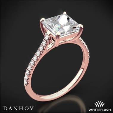 18k Rose Gold Danhov CL138P Classico Single Shank Diamond Engagement Ring for Princess