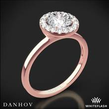 18k Rose Gold Danhov LE104 Per Lei Single Shank Halo Solitaire Engagement Ring | Whiteflash